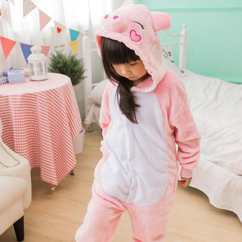 Cute Pig Kid Kigurumi Onesie Child Animal Cospaly Costume For Girl Boy Anime Cartoon Suit Jumpsuit Set Sleepwear With Shoe