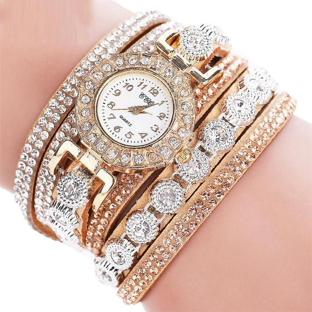 Fashion Women Bracelet Watch Female Leather Rhinestone Quartz Wrist Watch Ladies