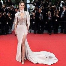 Открытая спина Формальные платья знаменитостей с юбкой-годе, с высоким воротником атласные кружевные разрезы сексуальные длинные вечерние платья знаменитые платья для красной дорожки