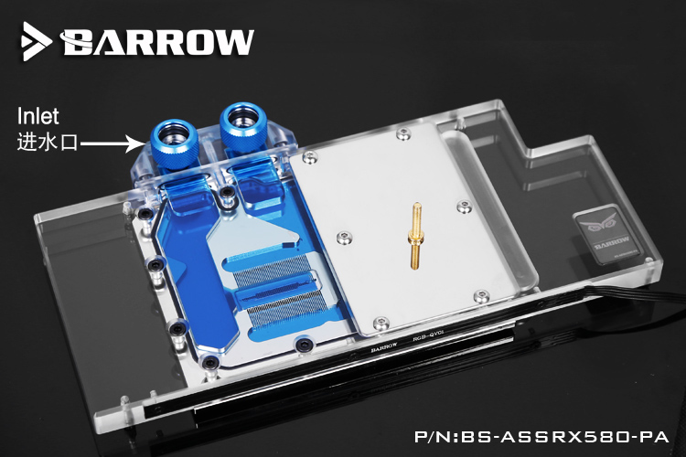 Barrow BS-ASSRX580-PA GPU Water Cooling Block for ASUS ROG Strix RX580/RX480 2pcs gpu rx470 gtx1080ti vga cooler fans rog poseidon gtx1080ti graphics card fan for asus rog strix rx 470 video cards cooling
