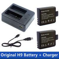 1pcs Dual Charger + 2Pcs 1050mAh Backup Rechargeable Li-ion Battery For EKEN H9 H9R H8PRO H8R SJ4000 Action Camera Accessories