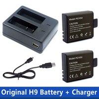 1 шт. двойной Зарядное устройство + 2 шт. 1050 мАч резервный перезаряжаемый литий-ионный аккумулятор Батарея для eken H9 H9R H8PRO H8R SJ4000 экшн Камера акс...