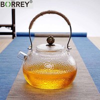 BORREY Japanese Heat Resistant Glass Teapot Kettle With Filter High Borosilicate Glass Heated Kettle Coffee Flower Tea Pot 700Ml