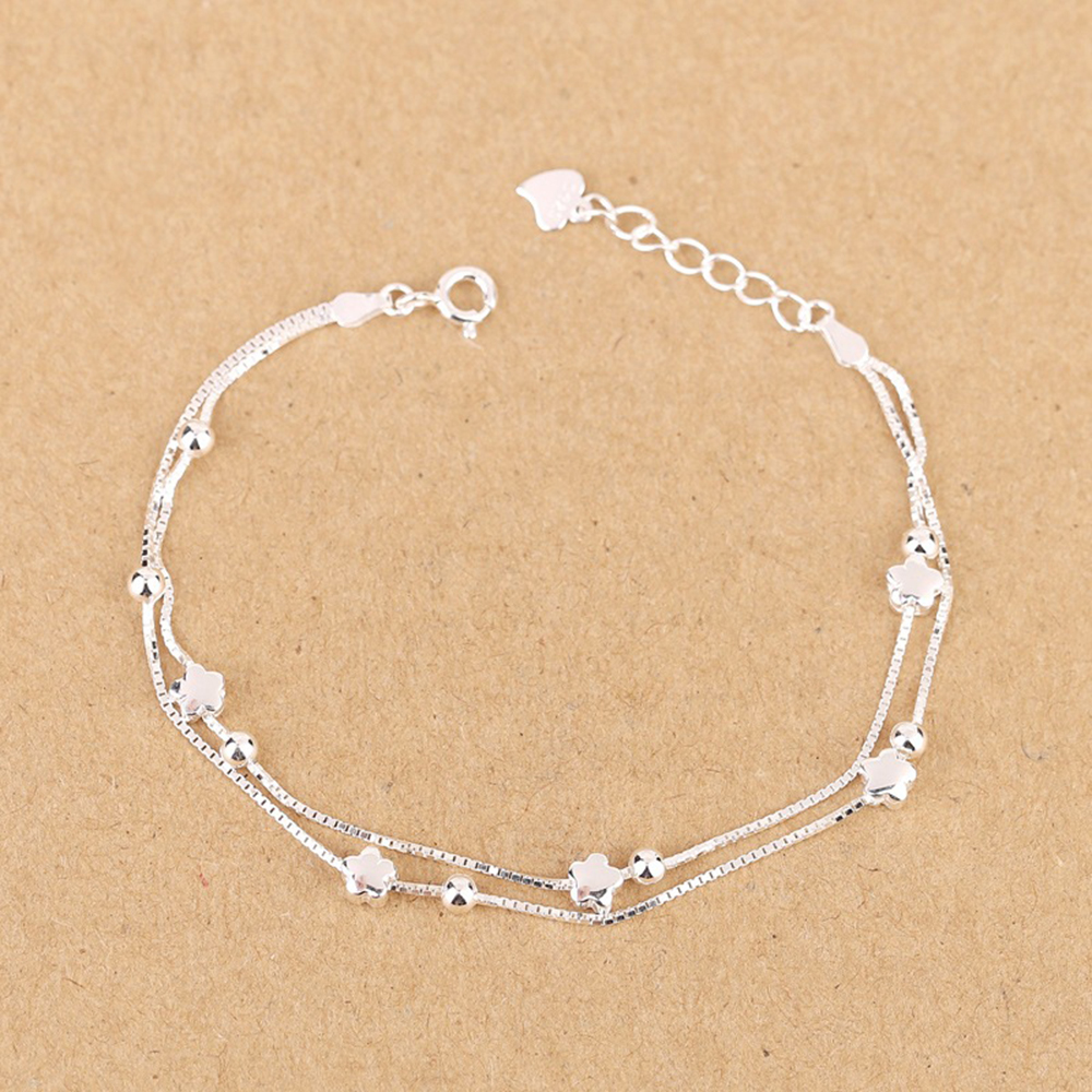 Authenetic Genuine 925 Sterling Silver Bangles Bracelet Two Lines Chain Star Bracelet For Women Wedding Party Jewelry Gift