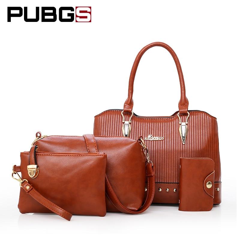 Для женщин Сумки сумка из мягкой искусственной кожи модные элегантные заклепки Перо 4 комплект из большой Ёмкость pubgs 2018