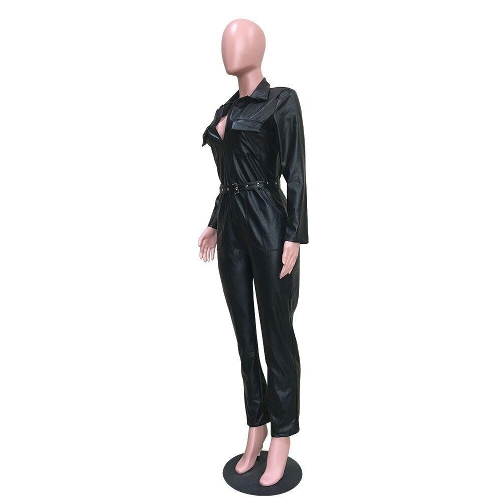 Zipper Romper Collar Long Sexy European Sale Sleeve Ry5072 Jumpsuit Spliced Hot Pu Pockets Sash Down Autumn Overall Turn Women F8POwPq