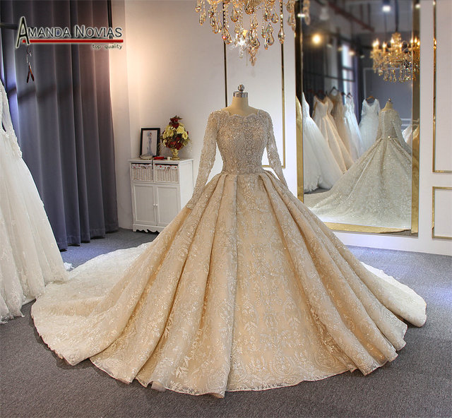 wedding dress 2020  full lace beading luxury sparkling wedding gown bridal dress
