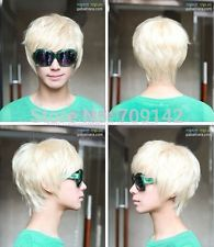 Fashion Korean Style Men's Male Boy Short Light Blonde Cosplay Wigs Heat Resistant Fibers Cospay Wigs And Digestion Helping