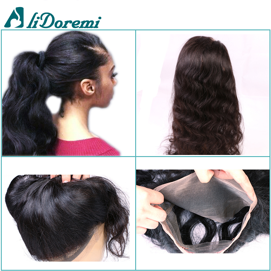 360 Lace Frontal Closure Pre Plucked With Adjustable Straps 360 Lace Virgin Hair Peruvian Body Wave Bleached 7A Band Frontals