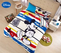 Mickey Mouse Comforters Bedding Set Baby Boys Bed Cover Disney Sanding Cotton Warm Soft Winter Yellow Single Twin Queen Striped
