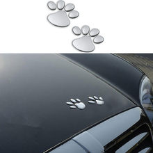 2pcs Car Sticker Cool Design Paw 3D Animal Dog Cat Bear Foot Prints Footprint for Volkswagen VW Jetta MK5 MK6 Polo Scirocco(China)