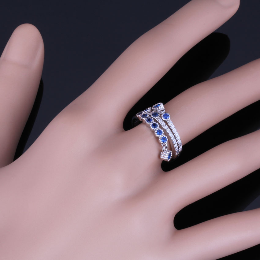 Adorable Drop Blue Cubic Zirconia White CZ 925 Sterling Silver Ring For Women V0681 in Rings from Jewelry Accessories