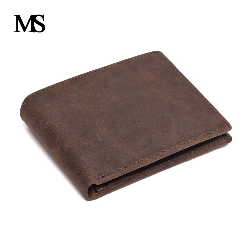 Real Leather Wallet Men Organizer Wallets Brand Vintage Genuine Leather Cowhide Short Men's Wallet Purse With Coin Pocket 075-01