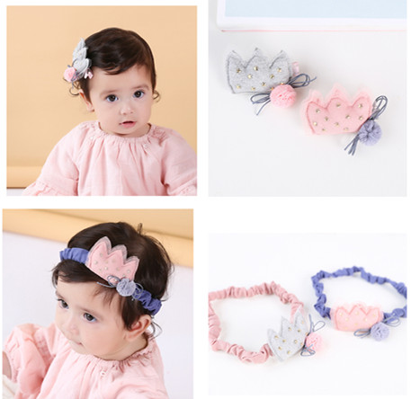 Korea Little Shiny star Hair Accessories For Girls Lace Flower Crown Hairpins Princess Headband Bows Hairbands