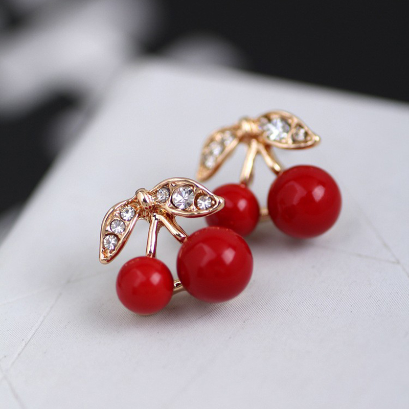 LNRRABC Women Girl Fashion Popular Charming Rhinestone Red Cherry Ear Stud Earrings Gift