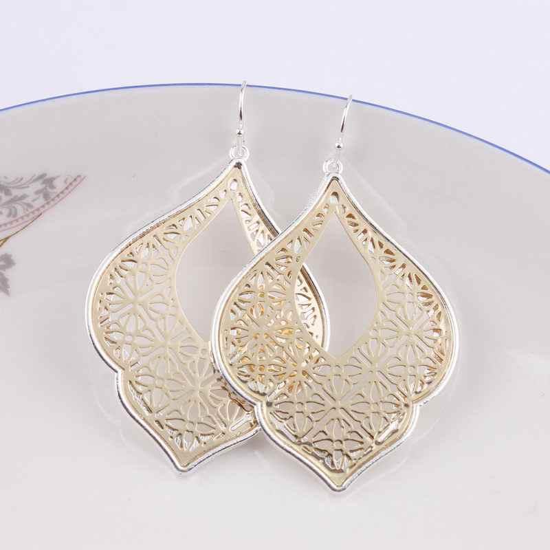 Dropshipping 2019 New Graceful Arabesque Teardrop Dangle Earrings for Women  Gold Filigree Heart Earrings Love Jewelry Wholesale