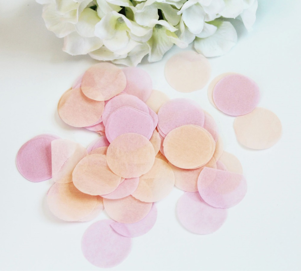 Círculos corações pêssego rosa tecido do casamento de papel do partido confetti  decorações de mesa biodegradáveis 41c058a18dbef