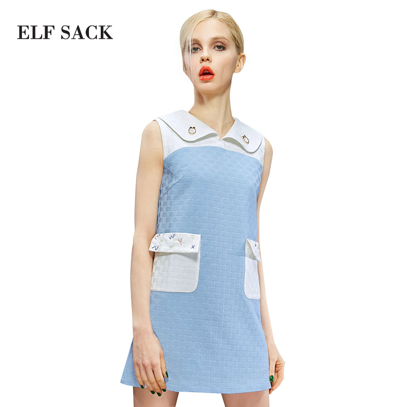 ELF SACK fashion brand new arrival 2015 spring women letter pattern embroidery color block sleeveless dress