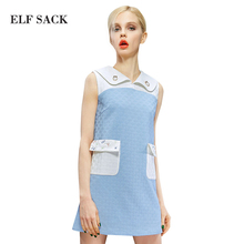 ELF SACK fashion brand new arrival 2015 spring women letter pattern embroidery color block sleeveless dress lapel  free shipping