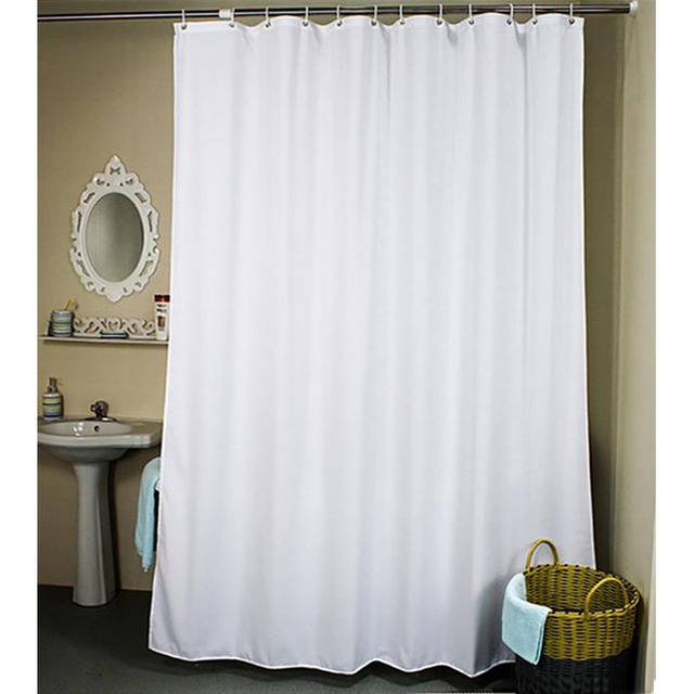 Solid Polyester Shower Curtain Eco Friendly Shower Curtains Waterproof  Curtain For The Bathroom White Beige