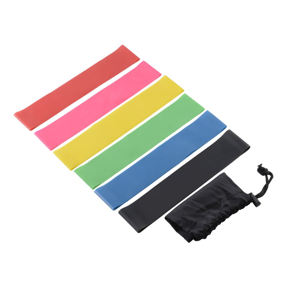 7Pcs/set Resistance Band Set 6 Level Resistance Exercise Loop Bands Natural Latex Gym Fitness Strength Training Yoga Loops Bands