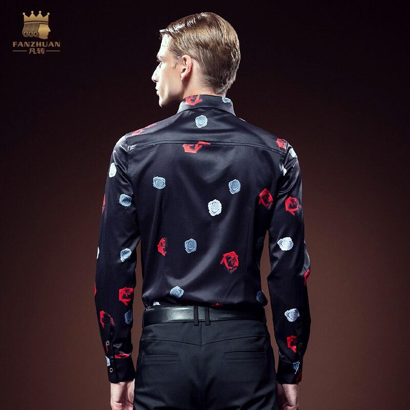 FANZHUAN 2017 New Arrival Luxury Brand Mens Shirts Long Sleeve Floral Men Shirt Designer Shirts Plus Size 5X