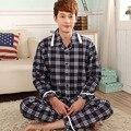 Мужчины гостиная набор весна 2017 осень наборы пижамы мужской пижамы хлопка с длинными рукавами плюс размер L XL XXL XXXL 4XL