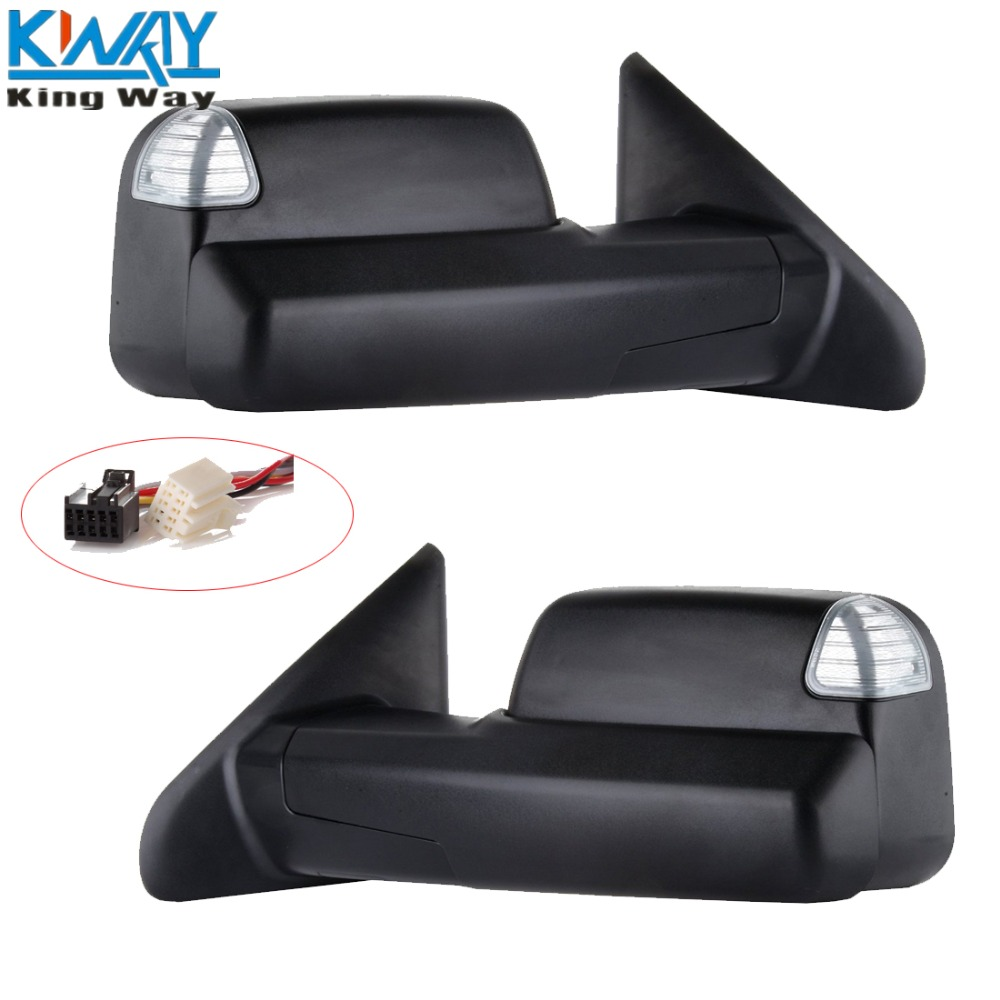 Free shipping king way black pair power heated towing lh rh mirrors for