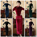 2014 Classy Women Solid Three Quarter Sleeve Ankle-Length Elastic Pleuche Slim Gorgeous Chinese Cheongsams Dress FreeShipping
