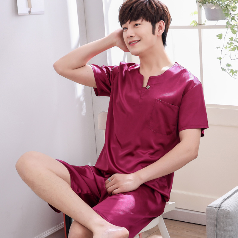Summer Short Sleeved Men Pyjama Set Imitate Silk Polyester Men Pajama Suit Satin Pajama Man Sleepwear Pajamas Red Nightgown 3XL