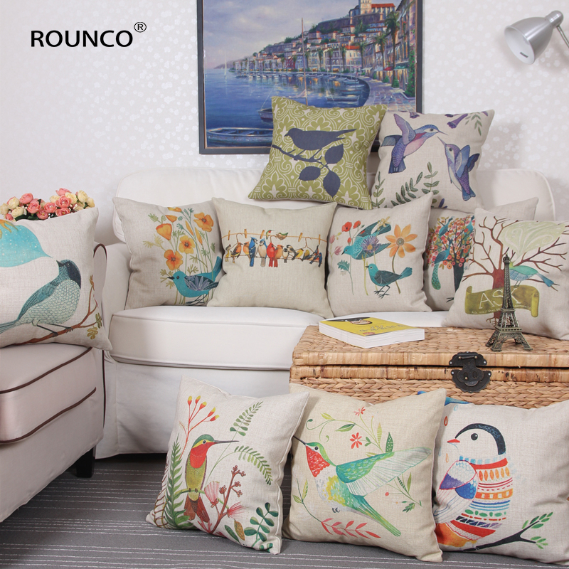 Outdoor Chair Cushion Covers Beach Chairs At Lowes Rounco Cute Birds Linen Cotton Blending Trendy Home Textile Cushions Decorative Sofa Pillow 45 45cm