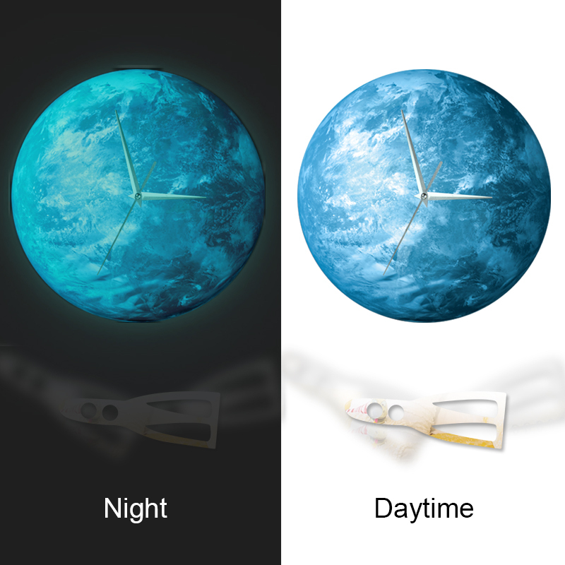 Funlife(TM) Glow in the Dark Earth Wall Clock, Funlife Exclusive Creative Illuminate Glowing Earth Desgin Wall Clock with Extrat