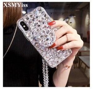 Image 1 - Caso de telefone luxo bling cristal diamantes 3d pedras suporte macio capa traseira para huawei p20 p30 p40 lite plus mate 20 30 lite pro