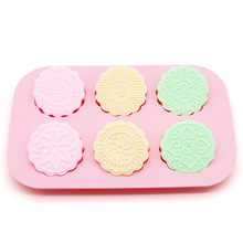 handmade silica gel soap mold silicone mould round fine pattern cake molds
