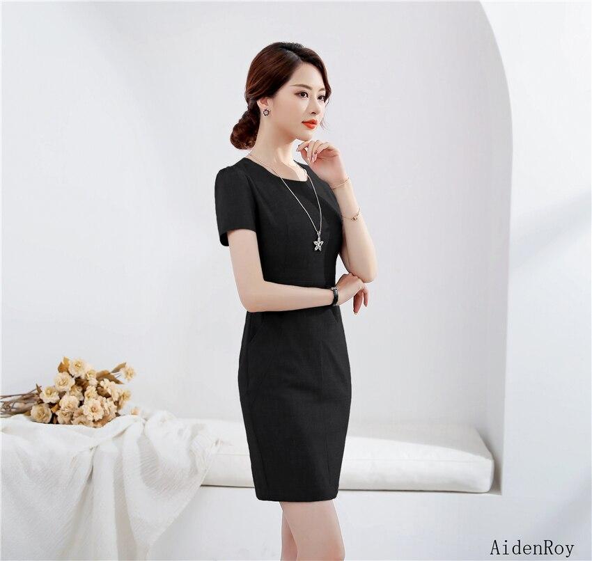 ddd54e05e32 Robe Costume blue gray Été À Femmes Printemps Lady Costumes Work Black  Dress Wear Dress Formelle ...