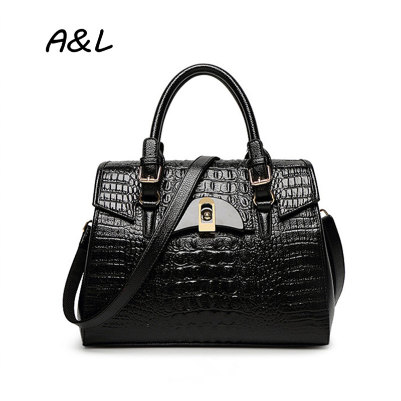 Women Bag New Fashion Crocodile PU Leather Handbag Lady Luxury Brand Shoulder Messenger Bag Large Capacity Alligator Tote A0013 newest luxury brand women bag fashion design cowhide leather handbag lady totes sequined original shoulder bag