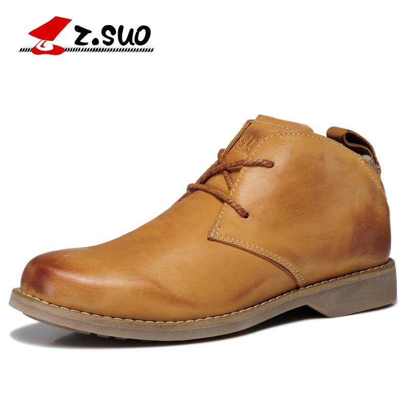 Z.Suo Luxury 2017 Mens Genuine Head Layer Cowhide Leather Boots Men Outdoor England Retro Tooling Casual Oxford Boots ZS699G
