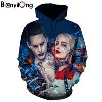 BIANYILONG Hoodies 3D Men Women Sweatshirts Fashion Pullover Autumn Tracksuits Harajuku Outwear Suicide Squad Joker Male