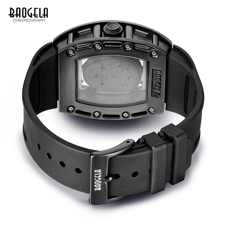 Image 2 - Baogela Pirate crâne Style hommes montre Silicone lumineux Quartz montres militaire étanche squelette montre bracelet pour homme-in Quartz Watches from Watches