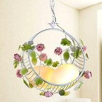 46CM GALSS Iron white pendant lights Novelty cradle rustic bedroom pendant light child light residential lighting flower ET16
