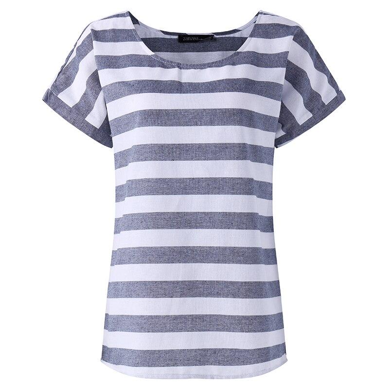 Women Casual Striped O Neck Shirt ZANZEA Plus Size Cotton Linen Blouses 2018 Summer Baggy Blouse Loose Top Blusa Feminina Blusas