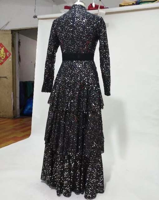 bb14d12a8c US $216.0 |Bling bling sequined fabric 3 layers skirt full sleeves high  neck black evening dress with removable wide waistband sash-in Evening  Dresses ...