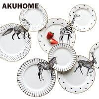 2 Pcs 6&8 Inch Animal Combined Plates Set Ceramic Plates Fox Elk Giraffe Zebra Pattern Plates Steak Breakfast Cake Fruits Dish