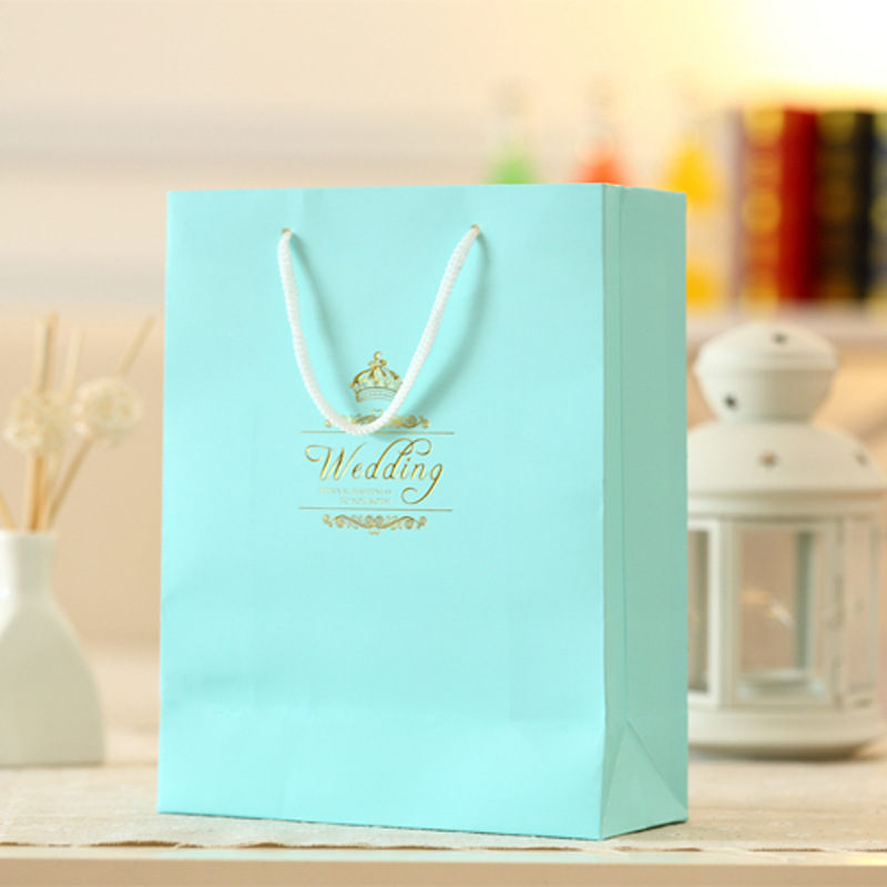 50pcs Lot Wedding Paper Gift Bags With Handles Favors For Guests Pink Purple Blue Printing Candy Bo Party In Wring Supplies