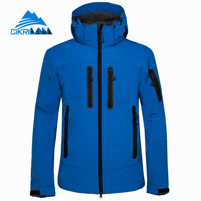 Hooded Outdoor SoftShell Jacket men Windbreaker Hiking Camping Climbing Coat Trekking Fishing Golf Sports Jackets Fleece Lined