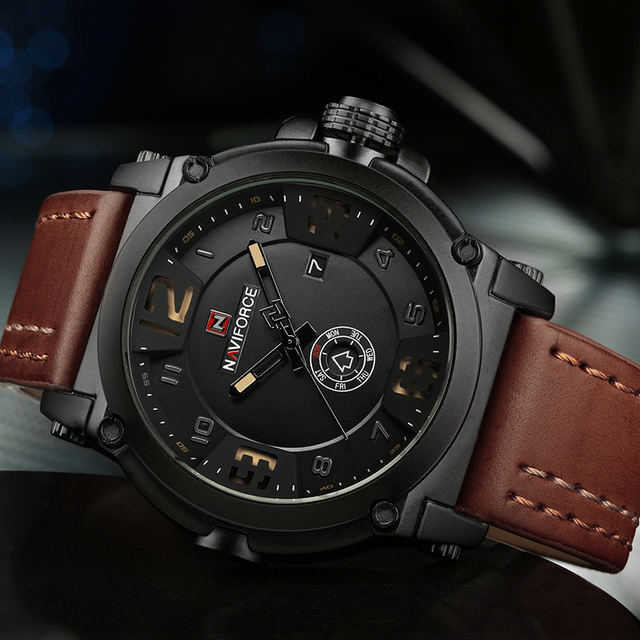 Fashion Mens Watches Naviforce Militray Sport Quartz Men Watch Leather Waterproof Male Wristwatches Relogio Masculino