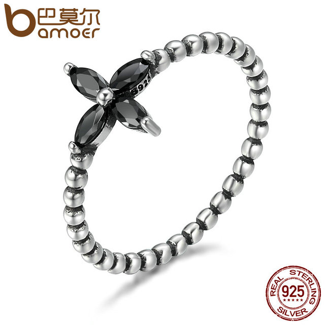 BAMOER 100% 925 Sterling Silver Modern Fashionable Flower Clear Black CZ Finger