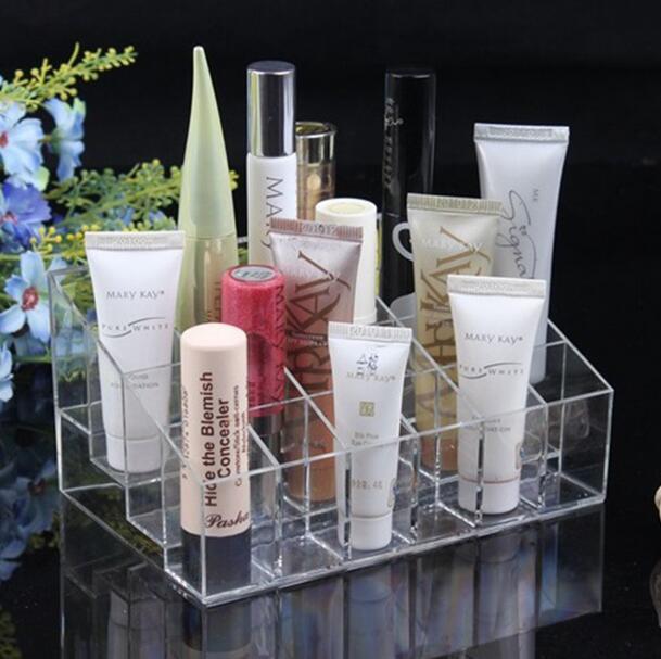 40ee12134 1 piezas 24 Trapezoid Clear maquillaje cosméticos organizador  almacenamiento Lipstick Holder soporte envío de la gota al por mayor bo
