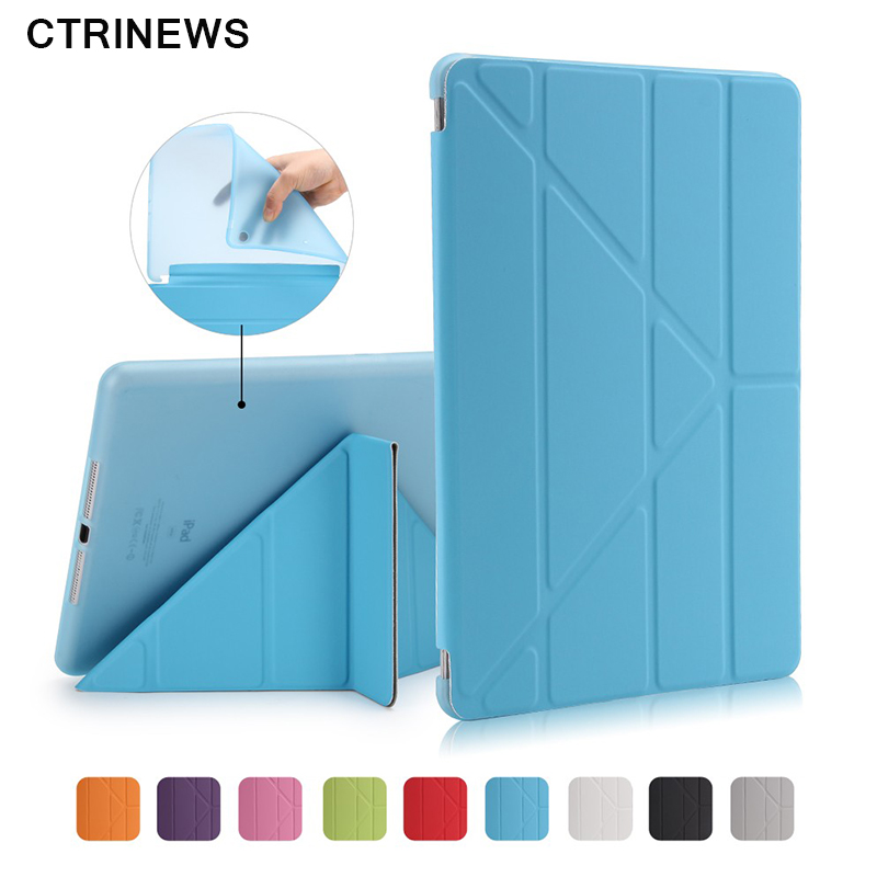 CTRINEWS For New iPad 2017 Tablet Case Smart Stand Soft TPU Back Cover for iPad A1822 Flip Leather Cases Auto Wake / Sleep ctrinews for new ipad 2017 tablet case smart pu leather stand cover for ipad 2017 a1822 magnetic auto wake up sleep case