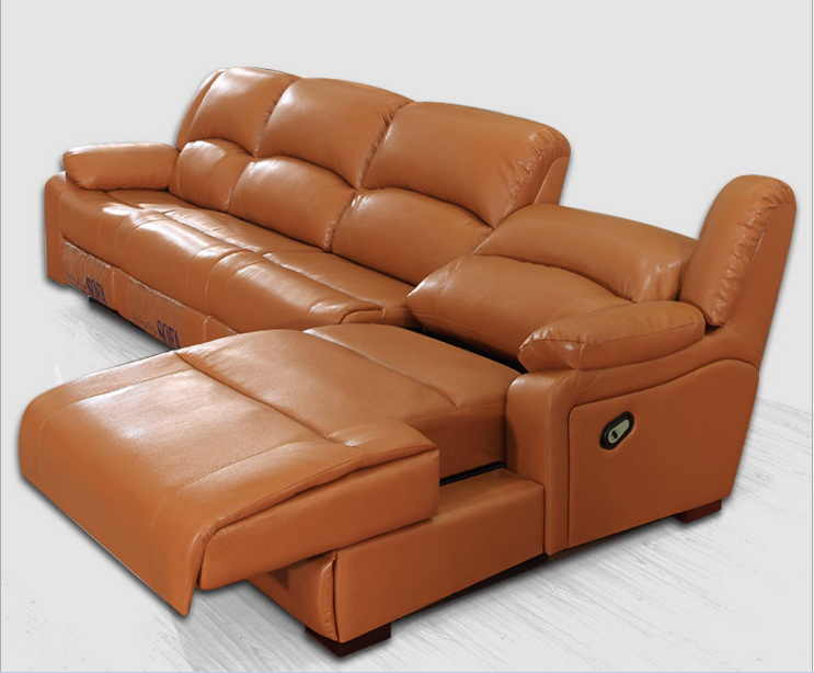 living room sofa Recliner Sofa, cow Genuine Leather Sofa, Cinema 4  seater+coffee table+chaise sectional L shape home furniture